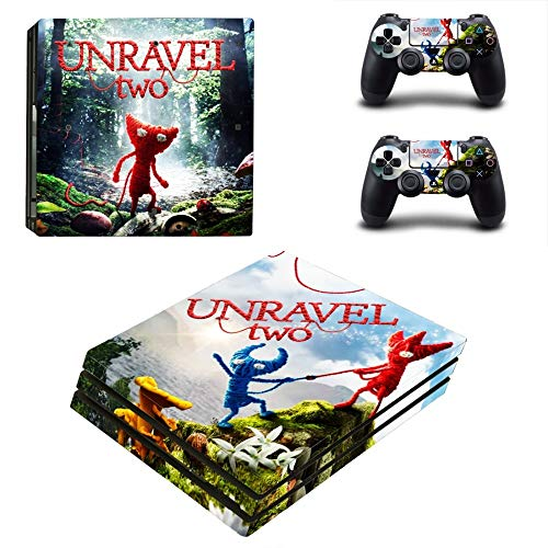 FENGLING Juego Unravel Two Ps4 Pro Skin Sticker Decal para Playstation 4 Console y 2 Controller Ps4 Pro Skin Sticker Vinyl