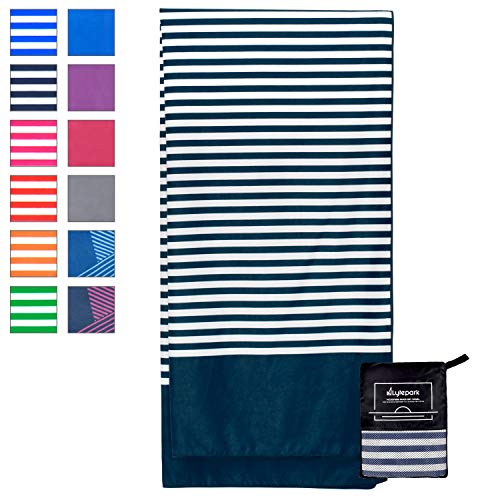 Lytepark Microfiber Beach Towel for Travel - Oversized XL 70 x 35 Inch - Quick Dry, Sand Free, Extra Large, Lightweight with Zipper Bag - Compact, Perfect for Travel Towel and Beach Blanket