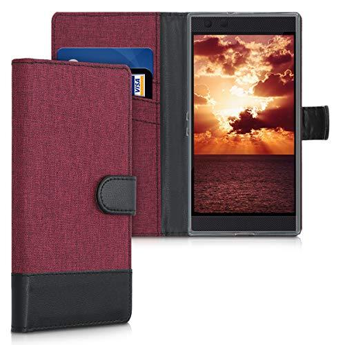kwmobile Wallet Hülle kompatibel mit Razer Phone 2 - Hülle Kunstleder mit Kartenfächern Stand in Dunkelrot Schwarz