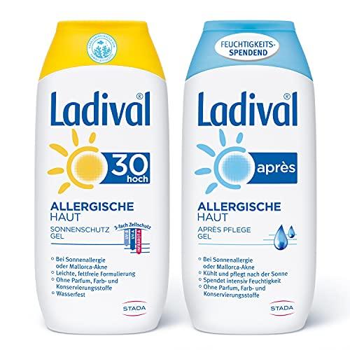 Ladival Allergische Haut Sonnenschutz Gel LSF 30 und Ladival Allergische Haut Après Sun Gel - 2er Set - Parfümfrei, ohne Farb- und Konservierungsstoffe jeweils, 400 ml