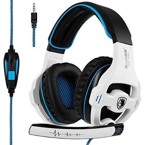 SADES SA810 nueva versión de Xbox One, PS4 Auriculares gaming 3,5 mm sobre la oreja de ruido de aislamiento del micrófono de control de volumen para Mac/PC/Computer/Phone/PS4/Xbox One [blanco y negro]