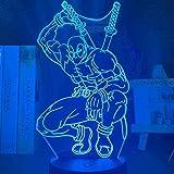 Festival 3D Lámpara de Luz de Noche Led Deadpool Figura Luz de Noche para Decoración del Hogar Luz de Ambiente Lámpara de Noche de Mesa de Dormitorio Regalo-16 Colores con Control Remoto