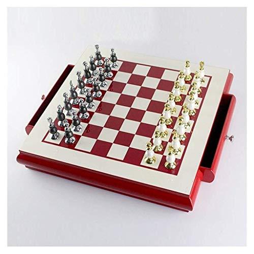 Chess Set, Juego de ajedrez Juego de tablero de ajedrez de madera Piezas de ajedrez de pintura de aleación de zinc creativas con ranuras de almacenamiento Adornos de regalo artesanales Juego de mesa T