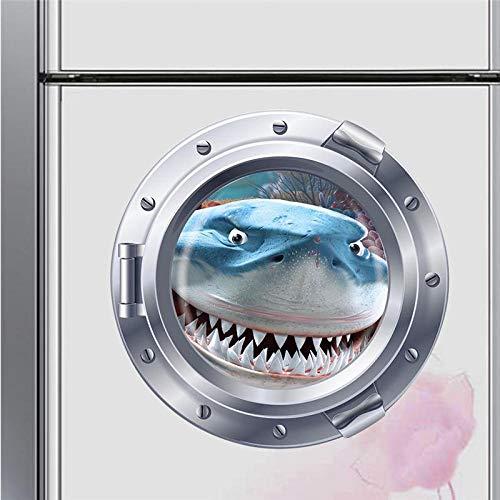 kldfig grote tanden haaivis onderboot patrijspoort muursticker kamerdecoratie Home Decals kinderkamer muurschildering kunst-43 * 43cm