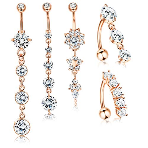 Jstyle 5Pcs 14G Stainless Steel Dangle Belly Button Rings for Women Girls Reverse Navel Rings Curved Barbell CZ Body Piercing