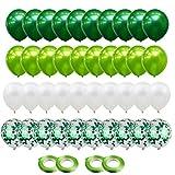 Gxhong Globos de confeti Globos de Látex Verde Blanco, 60pcs globos de helio de 12 Globos de confeti de látex con 4 cintas de globos para bodas Decoraciones de fiesta de cumpleaños (Verde)