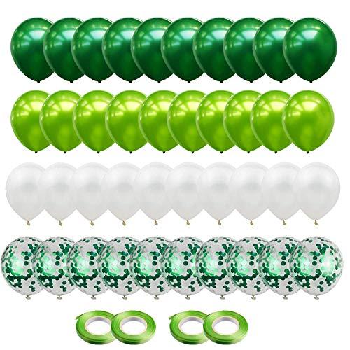 Gxhong Palloncini in Lattice Bianco Verde, 60 Pezzi Palloncini coriandoli   Palloncini Elio   Matrimonio Palloncini   12 Pollici Palloncini Coriandoli Colorati per Decorazioni per Feste (Verde)