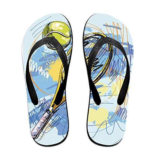 LCKYDLL Tennis Racket Unisex Slim Flip-Flops Slippers Beach Flat Thong Sandals