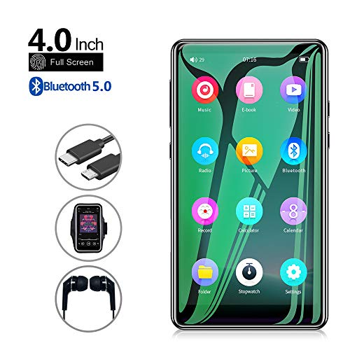 """Mp3 Player with Bluetooth 5.0,Tengsen 4.0"""" Full Touchscreen HD Video Mp4 Mp3 Music Player with Speaker, 16GB Portable HiFi Sound with FM Radio, Voice Recorder, E-Book, Sport Pedometer,Support TF Card"""