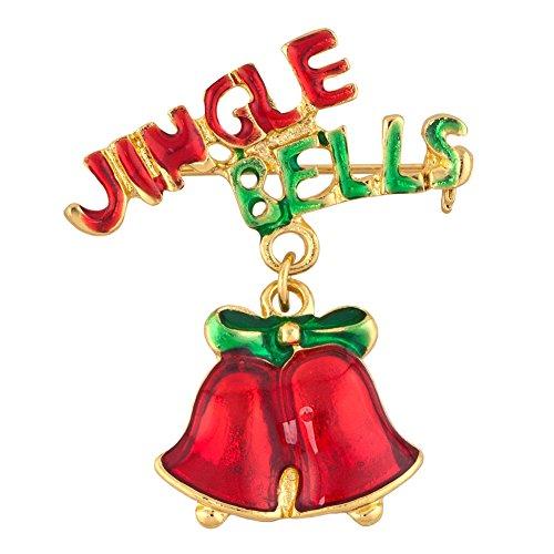 Korliya Christmas Stocking Jincle Bells Santa Claus Deer Brooch Pin for Women (Jincle Bells 1)