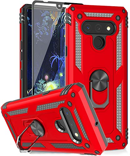 SunRemex Compatible with LG Stylo 6 Case with Tempered Glass Screen Protector. LG Stylo 6 Case Kickstand [ Military Grade ]. Drop Tested Protective Cover for LG Stylo 6. (red)