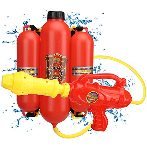 TOY Life Water Guns for Boys and Girls - Backpack Water Gun - Paw Fireman Costume Patrol Pretend and Play Kids Firefighter Water Gun with Backpack Ideal for Kids