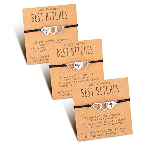Tarsus Best Bitches Bracelets for 3 Matching BFF Friendship Bracelet for Women Girls Sister Best Friend