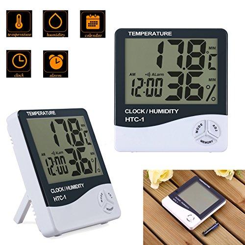 AUTOUTLET 2x Digital Thermo-Hygrometer Thermometer Hygrometer Luftfeuchtigkeit Uhr Alarm, Raumklimakontrolle Raumluftüerwachtung, Klima Monitor für den Innenbereich