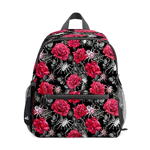 Mochila infantil para niños de 1 a 6 años de edad, mochila perfecta para niños de 1 a 6 años de edad, mochila perfecta para niños pequeños a jardín de infancia, rosa roja, flor, red de araña, gris