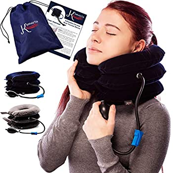 Pinched Nerve Neck Stretcher Cervical Traction Device for Home Pain Treatment | Inflatable Spinal Decompression Collar Unit Muscle Strain Injury Relief | Herniated Disc Problems Remedy Kit  Blue