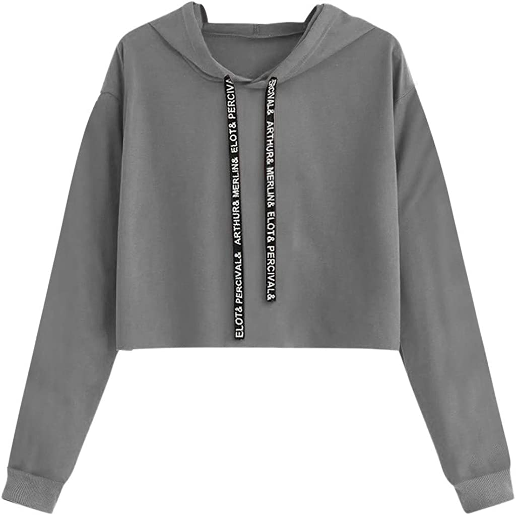 Girl's Hoodie, Misaky Solid Color Long Sleeve Casual Pullover Hooded Sweatshirt Jumper Cropped Tops