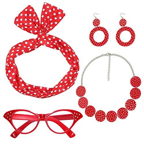 Ouinne 50er Jahre Kostüm Accessoires, Damen 1950s Zubehör Set Inklusive Haarband Polka Dots Bandana Ohrringe Katzenaugen Sonnenbrille Halsketten (Rot)