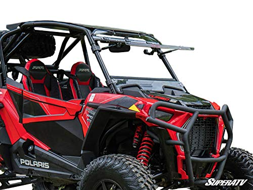 SuperATV Scratch Resistant 3-1 Flip Windshield for 2018+ Polaris RZR XP Turbo S / 2019+ Polaris RZR XP Turbo S4 | USA Made | 250X Stronger than Glass | Can be set to Open, Vented, or Fully Closed!