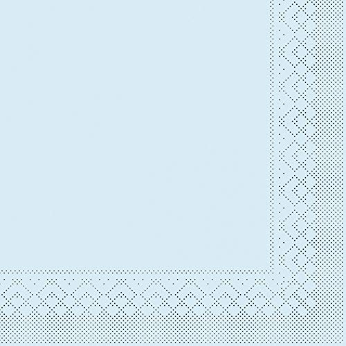 Mank Tissue-Servietten 40 x 40 cm ¼ Falz | Premium Einweg-Serviette | Dinner Serviette | Uni | Basic | 100 Stück | (Hellblau, 40 x 40 cm)