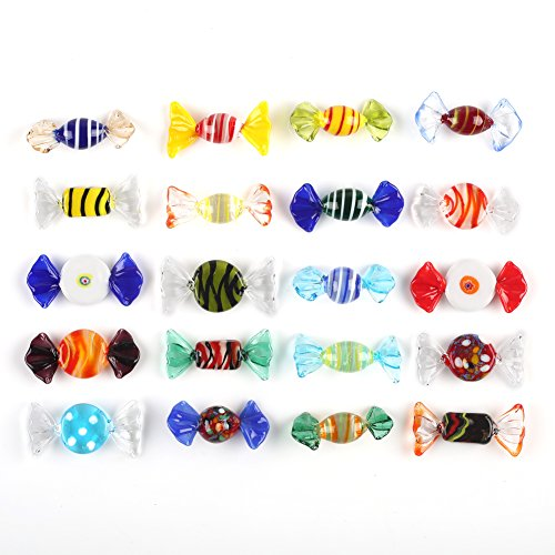 Trolleyshop Boutique Handmade 20pcs Vintage Murano Style Various Glass Sweets Candy Ornament for Home Party Wedding Christmas Festival Decorations Gift Candy Ornament Set