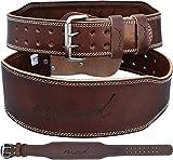 MCD Sports - Cinturón de levantamiento de pesas olímpico de piel marrón de 15,6 cm, 6 cm, tamaño mediano)