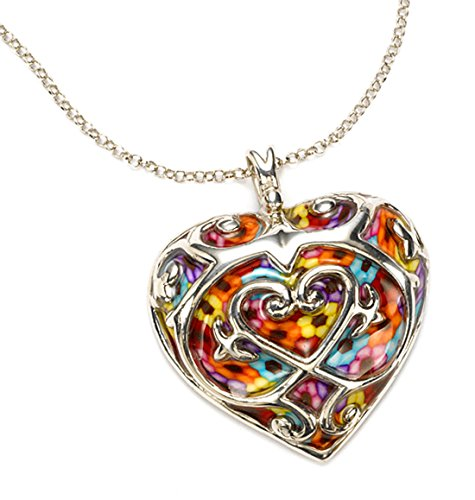 925 Sterling Silver Heart Necklace Fleur de Lis Pendant Handmade Multi-Color Polymer Clay Jewelry, 16.5