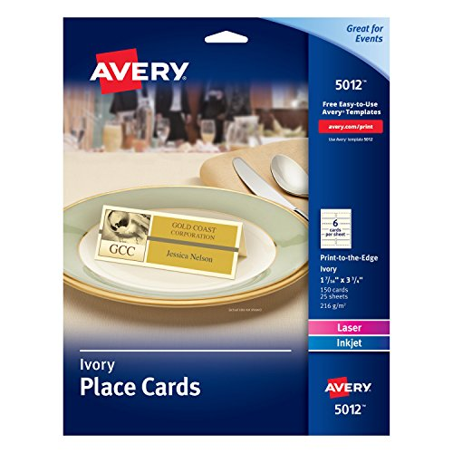 AVERY Ivory Place Cards, Laser/Inkjet Printers, 1-7/16x3-3/4, Pack of 150 (5012)