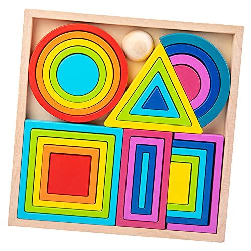 lahomia Blocchi di Costruzione di nidificazione dell'arcobaleno di Legno Che impilano Il Gioco dell'equilibrio di Giocattoli educativi Colorati in età - Grande