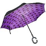 Paraguas inverso mengmeng, Sombrillas de Golf con Borde Reflectante de Noche púrpura Invertida con diseño de Estrellas, Toldo de Doble Capa