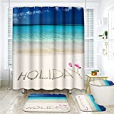 ArtSocket 4 Pcs Shower Curtain Set Holiday Seaside Blue Sky Beach Summer with Non-Slip Rugs Toilet Lid Cover and Bath Mat Bathroom Decor Set 72' x 72'