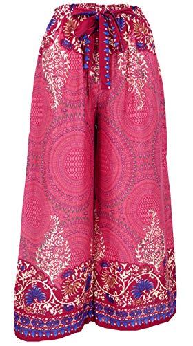 GURU SHOP Palazzo Pantalones de golf, pantalones de verano, hippie Goa, pantalones para mujer, violeta, sintéticos, talla: 38, pantalones largos, ropa alternativa rojo frambuesa 40