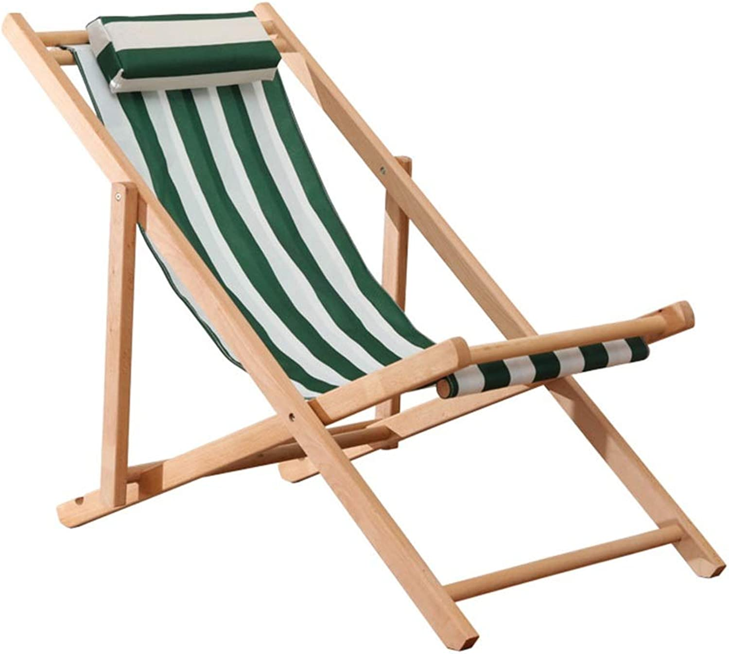 Lounge Chairs Wooden Folding Lazy Camping Deck Chair Easy to Wash and Wash Office Balcony Bedroom Green + White, Bearing 100kg