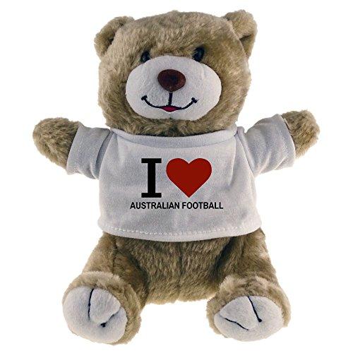 Multifanshop Kuscheltier Bär Classic I Love Australian Football beige - Stofftier Püschtier Schmusetier
