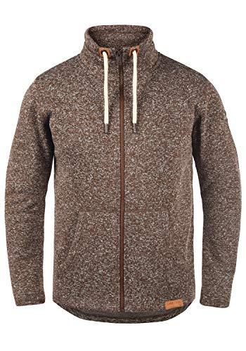 !Solid Luki Herren Fleecejacke Sweatjacke Jacke Mit Stehkragen Und Melierung, Größe:L, Farbe:Coffee Bean Melange (8973)