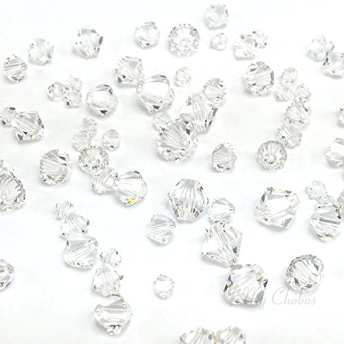 72 pcs Swarovski 5328 / 5301 Mixed Sizes in 3mm 4mm 5mm 6mm Xilion Bicone Beads clear CRYSTAL (001) from Mychobos (Crystal-Wholesale)