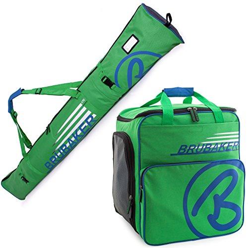 Brubaker Conjunto 'Super Champion 2.0' Bolsa para Botas y Casco de ski Junto a 'Carver Champion 2.0' Bolsa para un par de Ski - Verde/Azul - 170 cms. ó 190 cms.