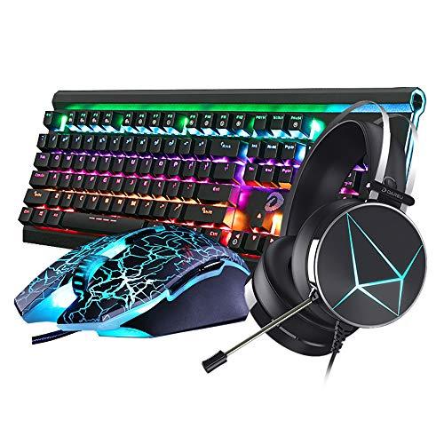 CAPTIANKN Clavier Et Souris De Jeu Rétroéclairés RGB Filaires, Casque De Jeu Et Combinaison De Jeux pour PC Windows