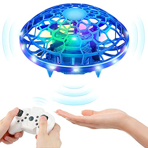 Mini Drones for Kids, KAQINU Multiple Remote Controls-Hand Operated RC Quadcopter, LED Hands Free UFO Hand Controlled Flying Ball Toys Gifts Kids, Boys and Girls