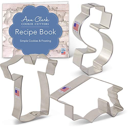 Ann Clark Cookie Cutters 3-Piece Graduation/New Job Cookie Cutter Set with Recipe Booklet, Dollar Sign, Graduation Cap and Graduation Gown