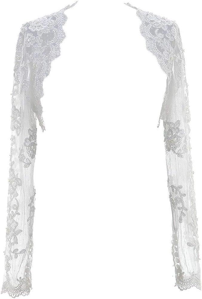 H.S.D Lace Wedding Jacket Beaded Bridal Bolero Shrug With Sleeves Appliques