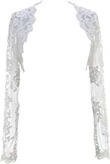 Lace Wedding Jacket Beaded Bridal Bolero Shrug With Sleeves Appliques