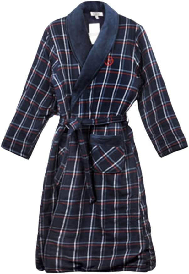 Sleep Sets Pajamas Autumn and Winter Thick Warm Woven Quilted Cotton Men's Long Sleeve Robe Plaid Loose Cotton Home Service (Color : Blue, Size : XXL)