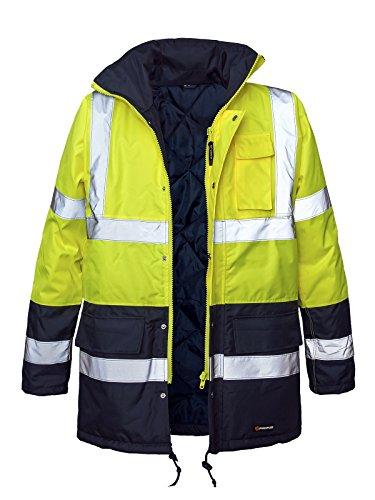 Marel Winter Warnjacke Warnschutz Pilotenjacke Arbeitsjacke Warnschutzjacke (BLIZAR-GELB) (2XL)