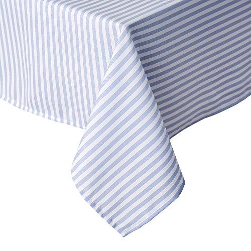 Deconovo Tischdecke mit Streifenmuster, Blau und Weiß, wasserabweisend, 137,2 x 137,2 cm
