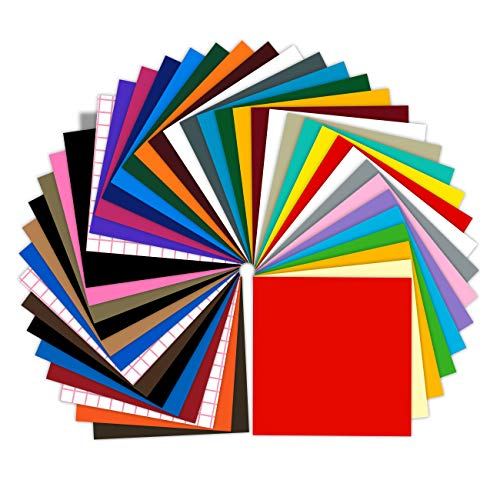 """Prime Vinyl Permanent Self Adhesive Vinyl Sheets, 12"""" x 12"""" 40 Assorted Colors Pack with 3 Transfer Tape Sheets,Adhesive Backed Vinyl Paper for Weeding Machine,Craft Cutter Machine,Printers,Letter"""