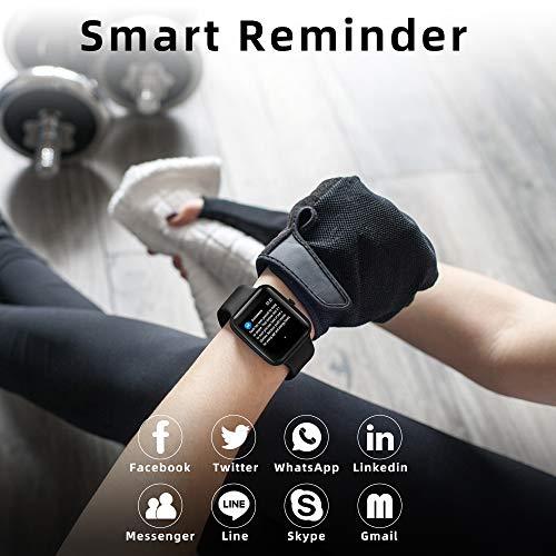 YONMIG Smartwatch, Fitness Armband Tracker Voller Touch Screen Uhr Pulsmesser Wasserdicht IP68 Armbanduhr Smart Watch mit Schrittzähler Stoppuhr Bluetooth Sportuhr für iOS Android Damen Herren