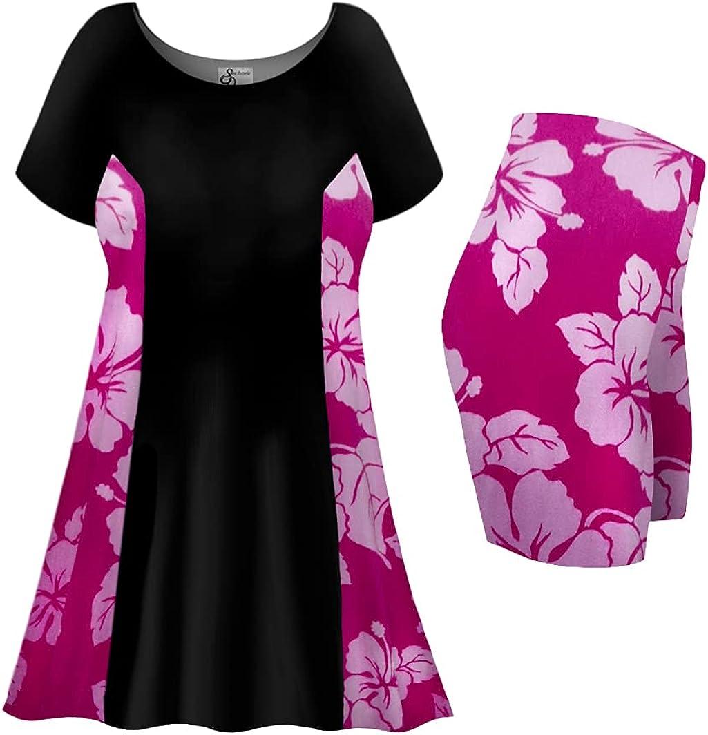 Plus Size Tall Swimsuit 2-PC Princess Cut Swimdress Fuchsia Lehua Print