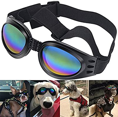 QUMY Dog Goggles Sunglasses for Dogs Pet UV Sunglasses Eye Wear Protection Waterproof About Over 15 lbs