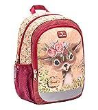 [page_title]-Belmil Kindergartenrucksack mit Brustgurt und Namensschild für 3-6 Jährige/Mädchen / 12 L/Krippenrucksack Kindergartentasche Kindertasche/Ren/Rot, Gelb (305-4/A Animal Forest Bambi)